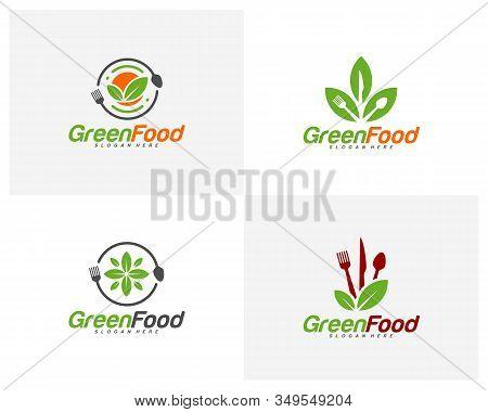 Set Of Healthy Food Logo Design Vector. Nature Food Logo Template. Restaurant, Food Court, Cafe Logo