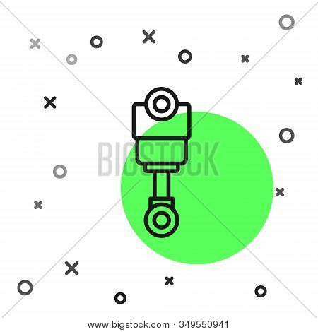 Black Line Engine Piston Icon Isolated On White Background. Car Engine Piston Sign. Vector Illustrat