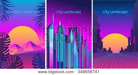 A Set Of Banners In The Style Of Retro Games. Fantastic City In The Style Of Cyberpunk. Vector Illus