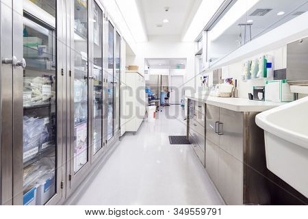 Empty Storage Room With Supplies In Modern Hospital Building