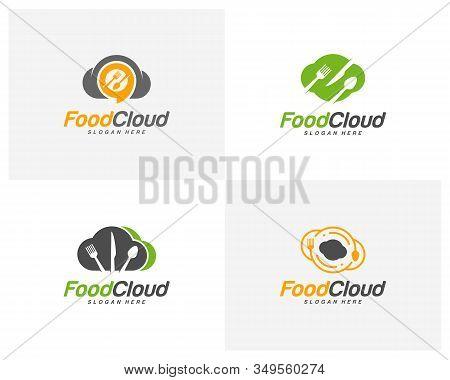 Set Of Food Cloud Logo Design Vector. Food Logo Template. Restaurant, Food Court, Cafe Logo Concept.