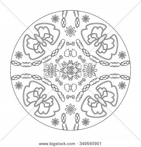 Mandala Coloring Page. Butterflies Mandala With Flowers, Illustration Vector Black And White. Art Th