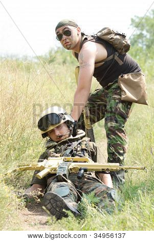 Soldier Saves His Wounded Partner