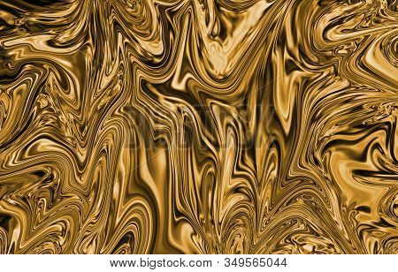 Liquid Gold Or Yellow Texture Background For Wallpaper, Decoration Or Design Works.