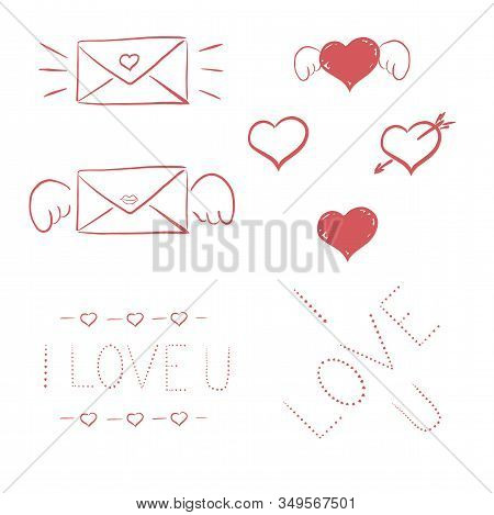 St Valentines Handmade Greeting Cards Kit. Scalable And Editable Vector Illustration. Scalable Vecto