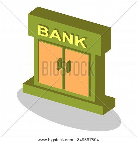 Isometric Bank Icon Isolated On White Background From Finance Collection. Bank Icon Trendy And Moder