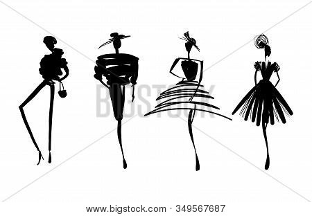 Fashion Models Sketch Hand Drawn Silhouette Pop Art. Stylized Fashion Podium Silhouettes Isolated On