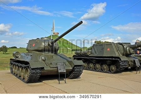 Minsk, Belarus - 13 July 2019: T-34, A Soviet Medium Tank. At Its Introduction In 1940, The T-34 Pos