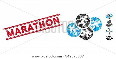 Mosaic Running Men Icon And Red Marathon Stamp Between Double Parallel Lines. Flat Vector Running Me