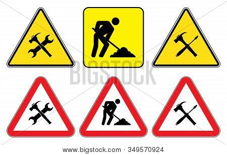 Under Construction Sign Collection.under Construction Triangle Signs On Yellow Background And Under