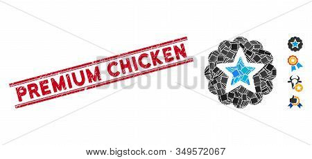 Mosaic Premium Icon And Red Premium Chicken Rubber Print Between Double Parallel Lines. Flat Vector