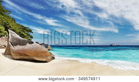 Tropical beach with white sand and clear sea, Similan Islands, Thailand