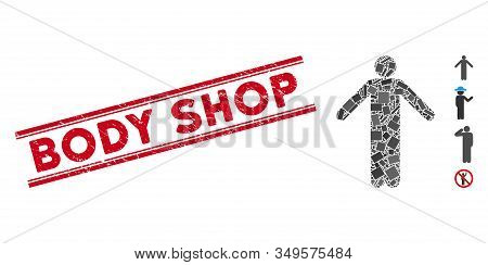 Mosaic Ignorance Pose Icon And Red Body Shop Stamp Between Double Parallel Lines. Flat Vector Ignora