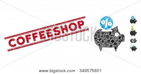 Mosaic Piggy Bank Icon And Red Coffeeshop Watermark Between Double Parallel Lines. Flat Vector Piggy