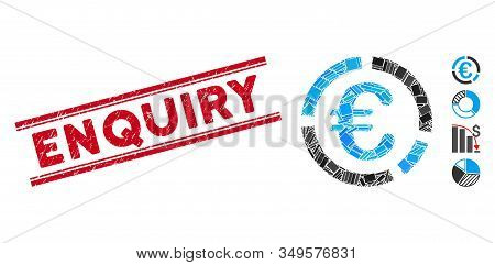 Mosaic Euro Financial Diagram Icon And Red Enquiry Stamp Between Double Parallel Lines. Flat Vector