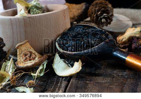 Wooden Spoon With Ivan Tea Table Of Herbalist And Healer Healing Herbs, Alternative Medicine, Healer