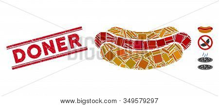 Mosaic Hotdog Pictogram And Red Doner Seal Stamp Between Double Parallel Lines. Flat Vector Hotdog M