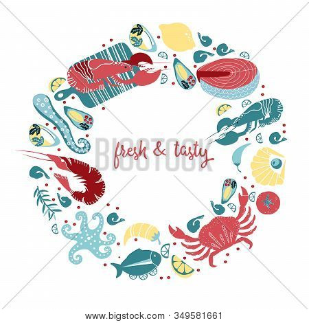 Set Of Colorful Hand Drawn Seafood Elements: Crawfish, Lobster, Crab, Shrimps, Lemon, Octopus, Shell