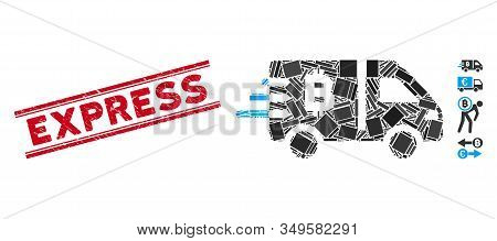 Mosaic Bitcoin Express Car Icon And Red Express Stamp Between Double Parallel Lines. Flat Vector Bit