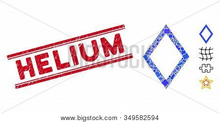 Mosaic Contour Rhombus Pictogram And Red Helium Seal Stamp Between Double Parallel Lines. Flat Vecto