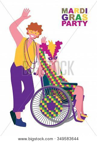 A Couple - A Man And A Girl In A Wheelchair In Carnival Costumes At The Festival. A Decorated Wheelc