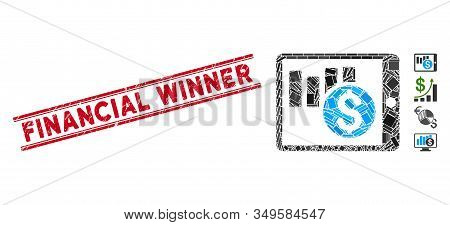 Mosaic Sales Chart On Pda Pictogram And Red Financial Winner Seal Between Double Parallel Lines. Fla