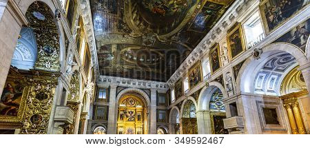 Lisbon - August 28, 2019: View Of The Exquisite Baroque Interior Of The Jesuit Church Of Saint Roch,