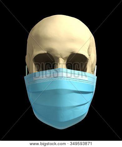 Skull In Medical Mask. Concept Of Deadly Coronavirus Epidemic. 3d Illustration.