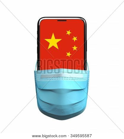 Smartphone In Medical Mask With Chinese Flag On The Screen. 3d Illustration.