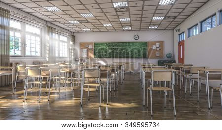 interior of a traditional style school with chairs and wooden desks, large green slate blackboard. light coming through the windows. nobody around. 3d render.