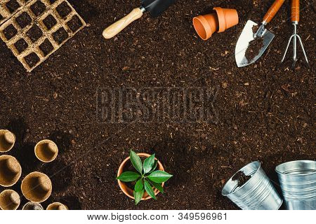 Gardening Tools On Fertile Soil Texture Background Seen From Above, Top View. Flat Lay Gardening Or