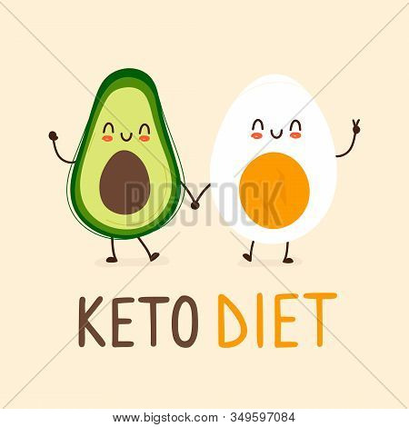 Happy Smiling Funny Cute Avocado And Boiled Egg Holding Hands With Keto Diet Lettering Underneath. V