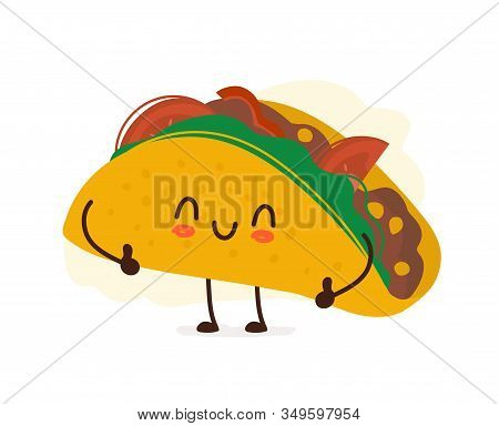 Tasty Cute Happy Smiling Taco Giving Thumbs Up. Vector Modern Flat Style Cartoon Character Illustrat