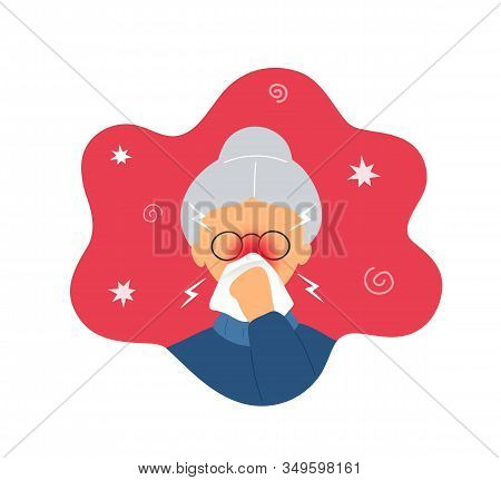 Old Woman With Rhinitis Blowing Her Nose Into White Handkerchief. Flat Modern Trendy Style.vector Il