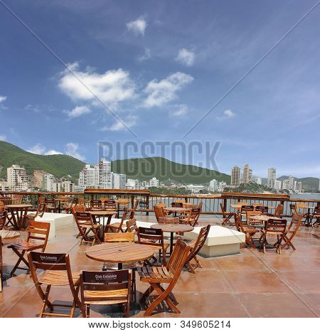Rodadero, Colombia - June 19: A Restaurant Called Burukuka Over Looking The City In Santa Marta. A P