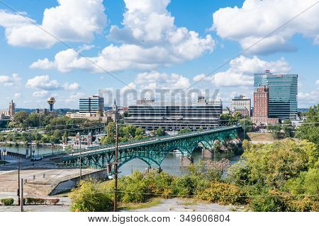Knoxville, Tn - October 9, 2019: City Skyline Of Knoxville Along The Tennessee River