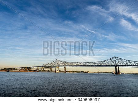 New Orleans, Usa - Dec 11, 2017: View Of The Crescent City Connection Bridge From The Steamboat Natc