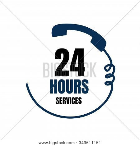 24 Hour Medical Care Service Vector Icon. 24/7 Day/night Services Button Symbol. Illustration Of  Si