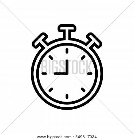 Black Line Icon For Clock Alarm-clock  Watch Waking-up Time Reminder Antique Countdown Deadline Time
