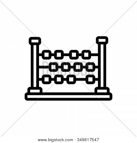 Black Line Icon For Abacus Ancient Arithmetic Calculation Count Education Learn Mathematical Vintage
