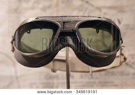 New Orleans, Louisiana, U.s.a. - February 5, 2020 - A Pilot Goggles Used By Lieutenant Arthur Bowen