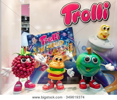 COLOGNE, February 2020: Funny Trolli brand characters on display at ISM trade fair