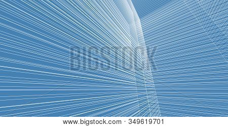 Abstract Architecture Wireframe Background Design, Architecture Building 3d Illustration, Modern Urb