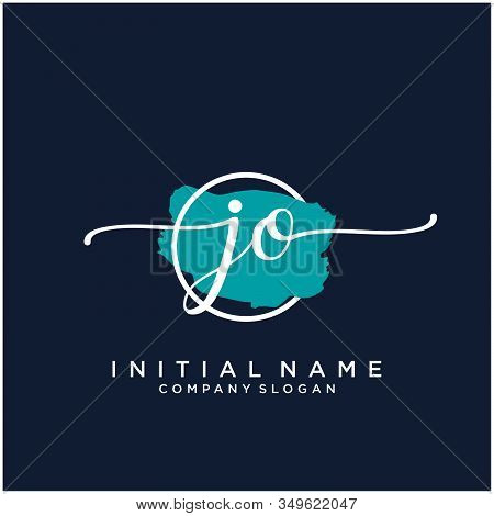 Jo Initial Handwriting Logo Design With Brush Circle. Logo For Fashion,photography, Wedding, Beauty,