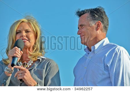 Mitt and Ann Romney campaigning