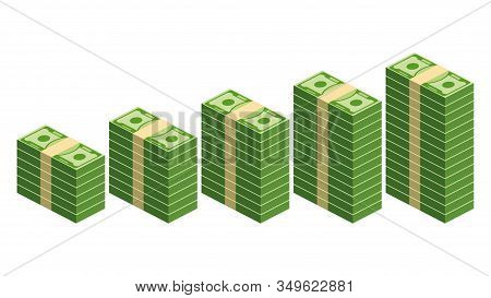 Five Stacks Of Paper Money In Ascending Order On White Background. Packing In Bundles Of Bank Notes.