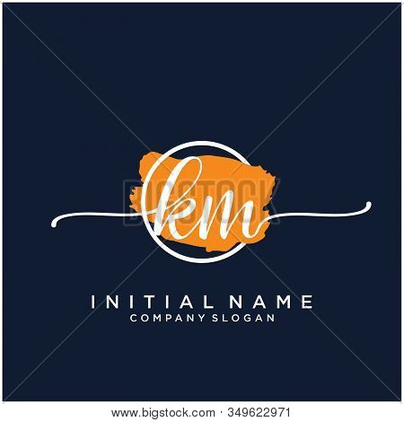 Km Initial Handwriting Logo Design With Brush Circle. Logo For Fashion,photography, Wedding, Beauty,