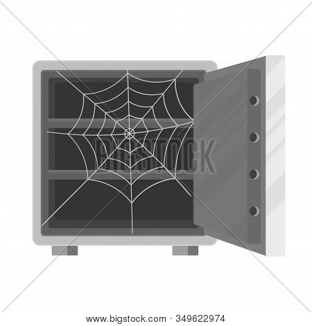 Open Empty Safe With A Cobweb Inside. Metaphor Of Bankruptcy, Poverty And Ruin. Theft And Fraud. Dec