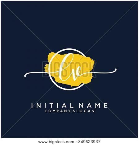 Lv Initial Handwriting Logo Design With Brush Circle. Logo For Fashion,photography, Wedding, Beauty,