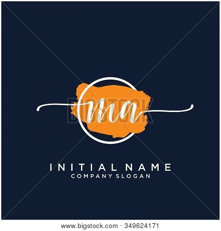 Ma Initial Handwriting Logo Design With Brush Circle. Logo For Fashion,photography, Wedding, Beauty,